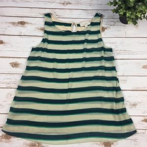 LOFT green and cream striped two layer tank top